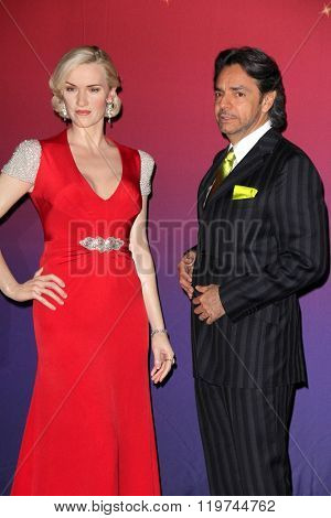 LOS ANGELES - FEB 25:  Kate Winslet Wax Figure, Eugenio Derbez at the Madame Tussauds Hollywood Unveils Kate Winslet Wax Figure at the TCL Chinese 6 Theaters on February 25, 2016 in Los Angeles, CA