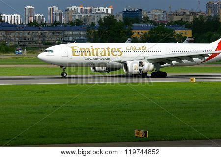 Emirates Airline  Airbus A330-243 Aircraft Is Landing In Pulkovo International Airport