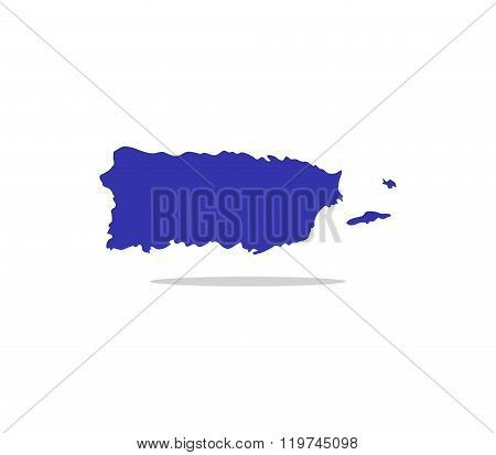 puerto rico map illustrated and colored on white background