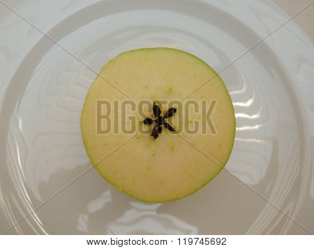 Half Yellow Apple Fruit
