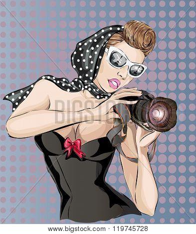 Pin-up Sexy Woman With Camera Taking Pictures