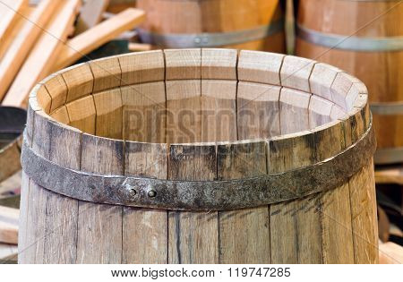 Wooden oak barrel. manufacture of wooden barrels in the factory