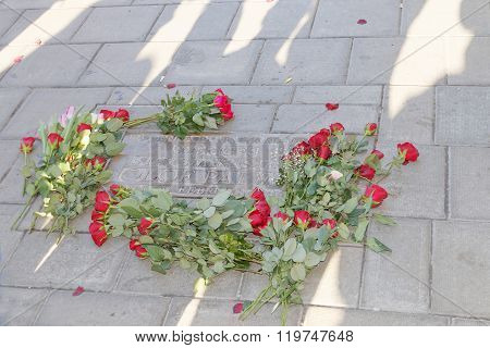 Roses On The Place Where The Swedish Prime Minister Olof Palme Was Murdered