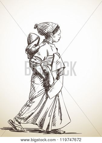 Sketch of woman carries baby on her back, Hand drawn illustration