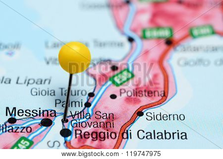 Villa San Giovanni pinned on a map of Italy