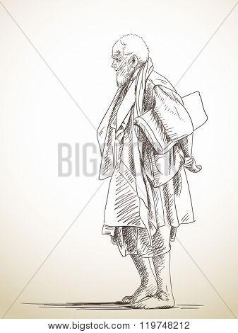 Sketch of barefoot walking man, Hand drawn illustration