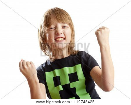 Boy Cheering With His Arms Up