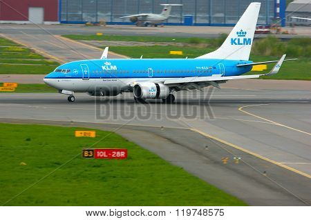 Klm Royal Dutch Airlines Boeing 737-7K2 Aircraft In Pulkovo International Airport In Saint-petersbur