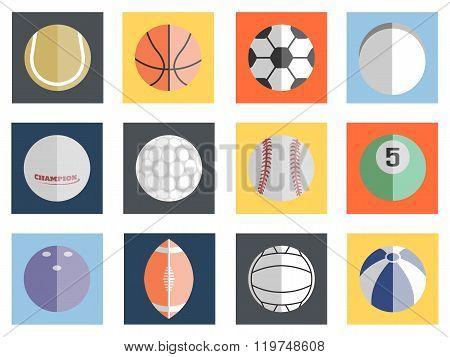 Various Balls Flat Design