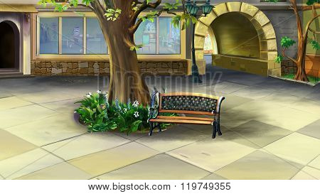 Courtyard with Tree and Bench. Front View