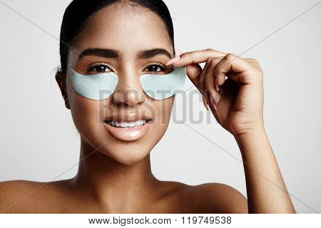 Woman Take Off An Eye Patch