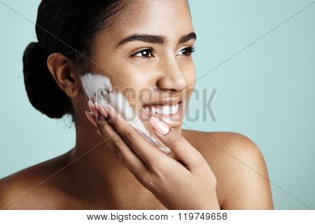 Happy Woman Wash Her Face