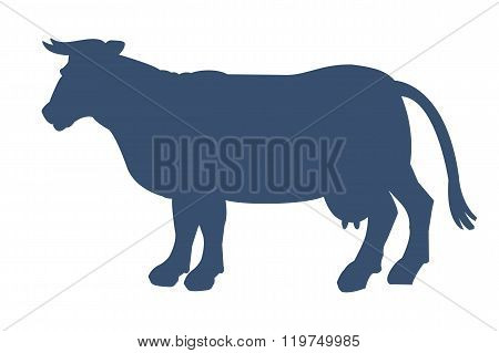 Silhouette Of Cow Isolated On White Background.