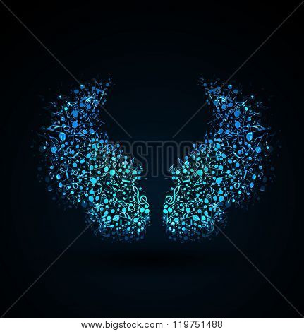 Vector of musical notes wings