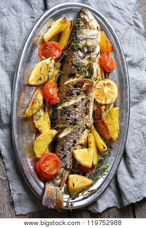 Roasted Fish With Potato Wedges