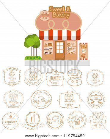 Bakery Shop Building Facade With Signboard And Bakery Logotypes Set, Bakery Vintage Design Elements