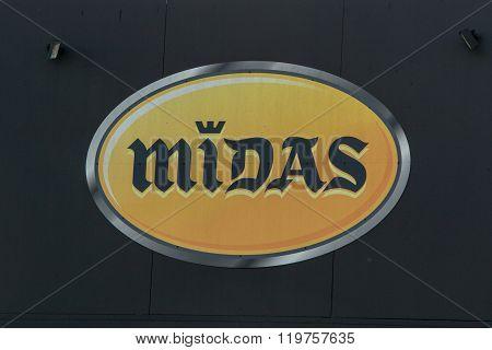 Pessac, France - February 10, 2016: Logo Of The Midas Brand In Pessac, France. Midas Is A Company Fo