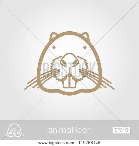 Otter Beaver Outline Icon. Animal Head Vector