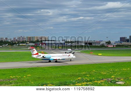 Austrian Airlines Fokker 100  Aircraft  In Pulkovo International Airport In Saint-petersburg, Russia