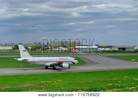Rossiya Airlines Airbus A319-111 Aircraft In Pulkovo International Airport In Saint-petersburg