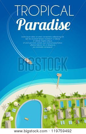 Sunny Summer Background With Tropical Hotel And Motorboat. Vector Illustration, Eps10.