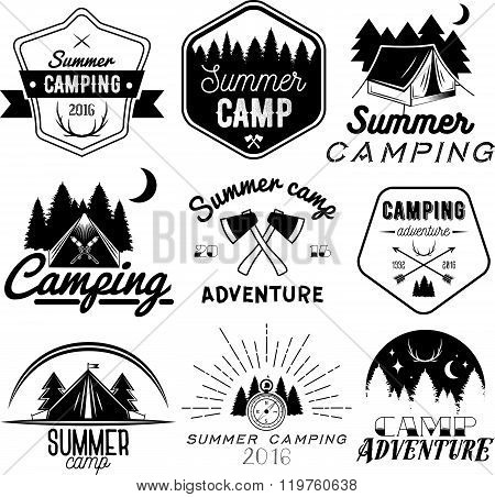 Vector set of camping labels in vintage style. Design elements isolated on white background. Camp ou