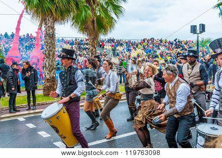 Nice, France - February 27, 2016: Carnaval De Nice.