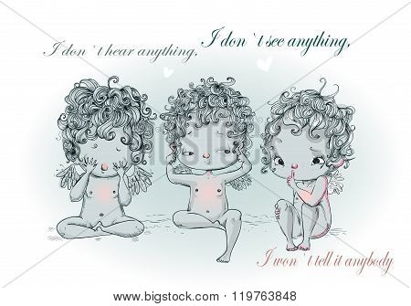 cute angel or cupid isolated vector illustration