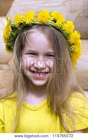 Little Girl In Dandelion Crown