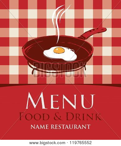 Menu With A Frying Pan And Fried Eggs