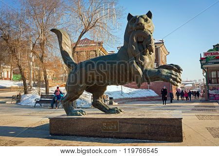 Irkutsk, Russia - February 16, 2016: Babr In His Teeth Holding Sable - A Monument Symbol Of Irkutsk.