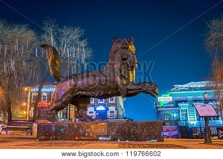 Irkutsk, Russia - February 16,2016: Babr In His Teeth Holding Sable - A Monument Symbol Of Irkutsk.