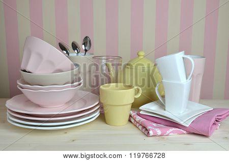 Crockery On Kitchen Table