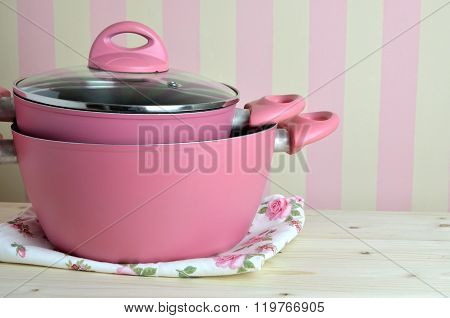 Pink Pots On Kitchen Table