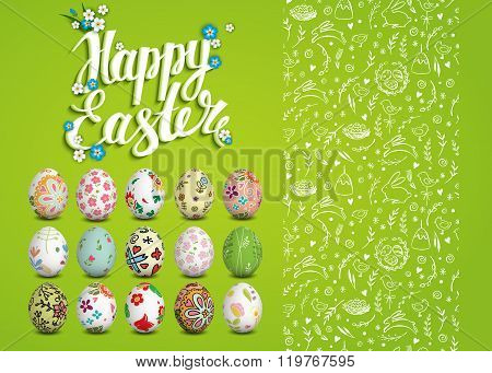 Easter vector seamless pattern, eggs and handwritten inscription