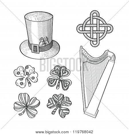 Set of Saint Patricks Day hand drawn design elements.