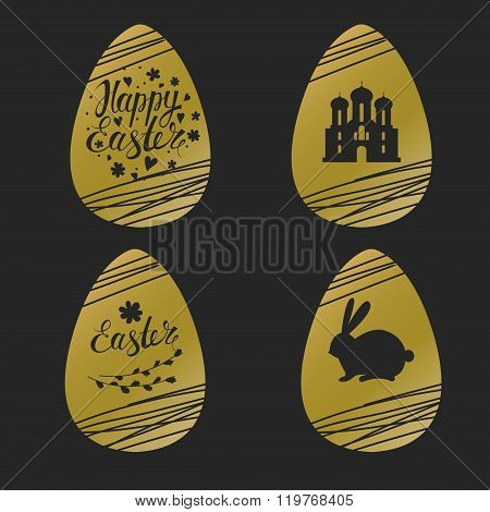 Set of Easter golden eggs with rabbit, inscription and church
