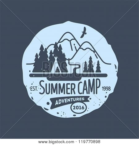 Mountain Summer Camp Element for Greeting Cards Websites Posters and T-Shirts Printing