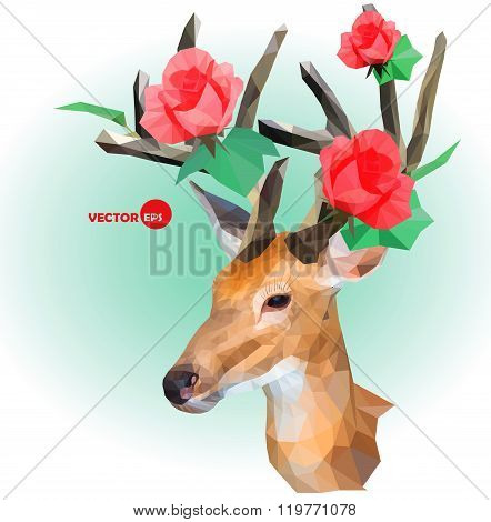 Deer silhouette with horns made of flowers on the green background. Red roses on the horns. March, s