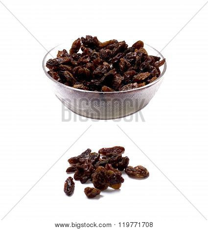 Plate With Raisin And A Row Several Grains Of Raisin