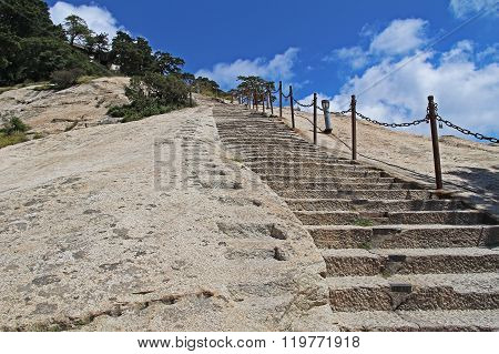 Steps On The Eastern Peak Of Mount Huashan, Xian, China