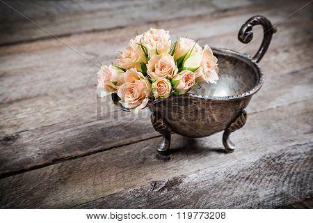 Cream Pink Roses In Old Metal Bowl