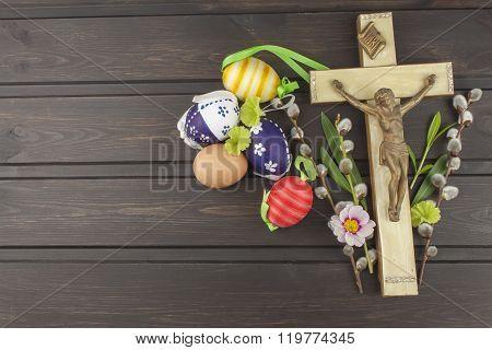Eggs Christian Easter symbol. Preparation for Easter celebrations