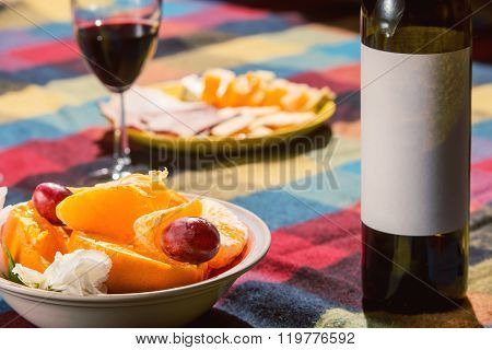 Served table with wine bottle