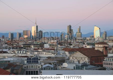 Milan, Italy - January 4, 2015. View Of Milans  Business District From Duomo. V.1.