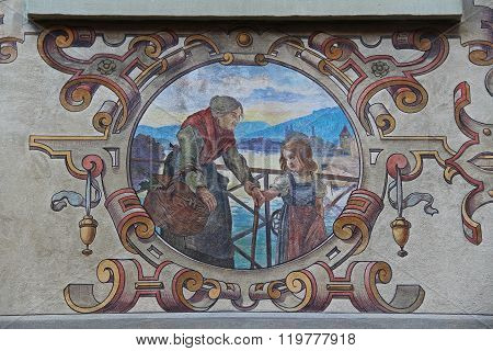 Stein-am-rhein, Switzerland. The Frescoes On The Buildings Of The Renaissance.