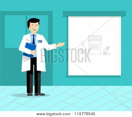 Doctor with banner or projection screen giving medical presentation. Doctor on presentation.