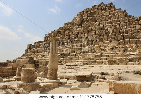 Ancient Ruins Near The Pyramids. Egypt