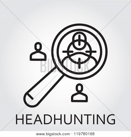 Black flat Line vector icon with a picture of headhunting