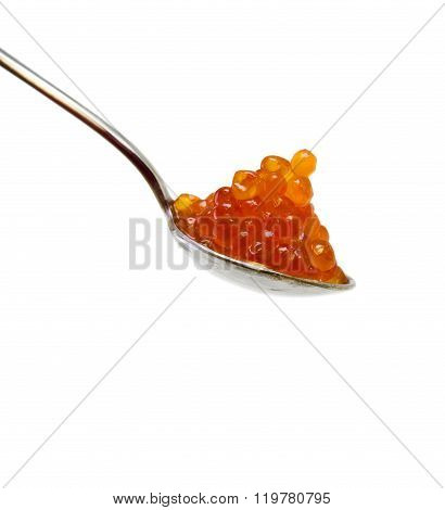 Spoonful of red caviar .